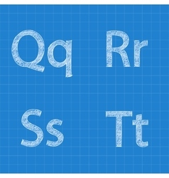 Sketched letters Q R S T on blueprint background vector image