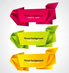 vector set of origami banners vector image