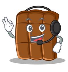 With headphone chocolate character cartoon style vector