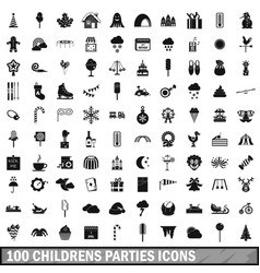 100 childrens parties icons set simple style vector image