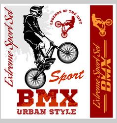 bmx t-shirt graphics extreme bike street style - vector image