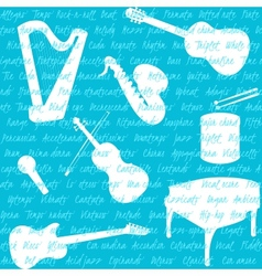 Seamless pattern with musical instruments and text vector image vector image