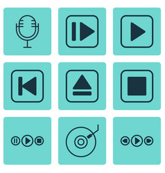 set of 9 music icons includes music control vector image