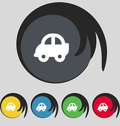 Auto icon sign Symbol on five colored buttons vector image