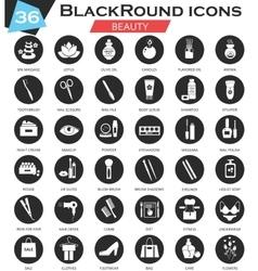 Beauty cosmetics circle white black icon vector image vector image