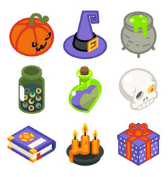 isometric 3d halloween witch magic icons set vector image