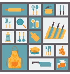 Kitchen and cooking icons set kitchenware and vector image vector image