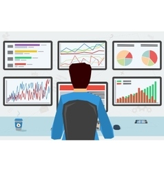 man at workplace with six monitors vector image vector image