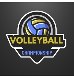 Volleyball sports logo label emblem vector image