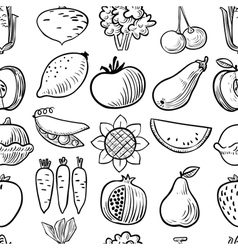 black and white fruits and vegetables seamless pat vector image vector image