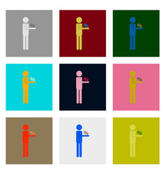 flat assembly icons of stick figure human vector image vector image