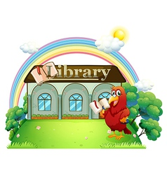 A red parrot reading in front of the library vector