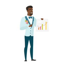 African-american groom showing financial chart vector