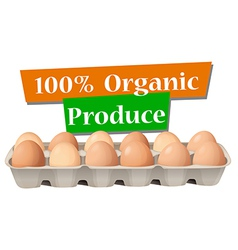 An organic produced eggs vector