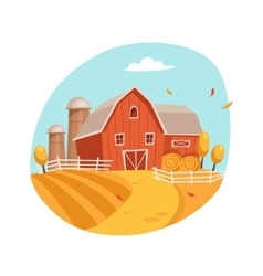 Autumn Scenery With House And Barn On The Field vector