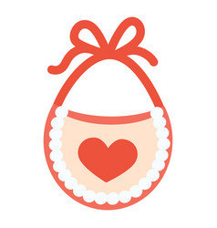 baby bib with red heart vector image