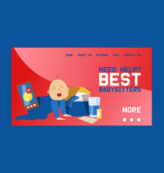 babysitters banner web design vector image