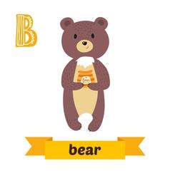 Bear b letter cute children animal alphabet vector