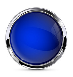 Blue glass button with metal frame round 3d icon vector