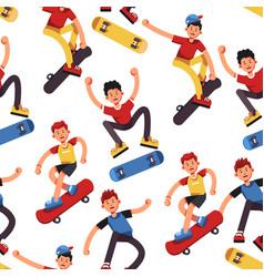 Boy skater seamless pattern teenagers vector