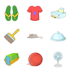 Brilliant cleaning icons set cartoon style vector