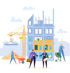 building agreement handshake construction vector image