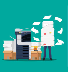 businessman in pile of papers vector image