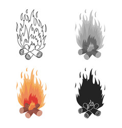 Campfire icon in cartoon style isolated on white vector