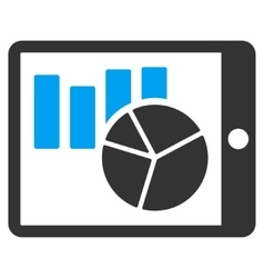 Charts on Pda Flat Icon vector