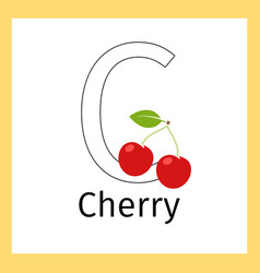 cherry and letter c coloring page vector image