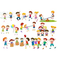 Children playing different games and activities vector image
