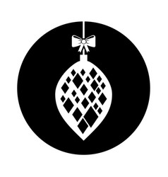christmas ball with bow hanging vector image