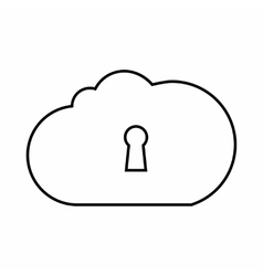 Cloud storage icon outline style vector