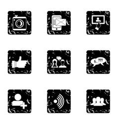 Communication via internet icons set grunge style vector