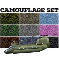 Comouflage set with military theme vector image