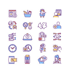 consumer experience rgb color icons set vector image