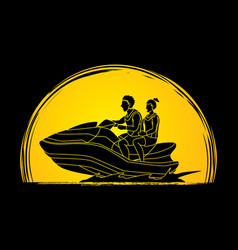 couple riding jet ski man and woman enjoy riding vector image