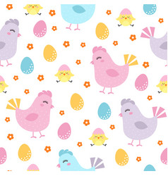cute easter chicken seamless pattern vector image