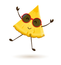 Cute pineapple character jumping vector