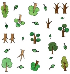 Doodle of tree set object collection vector