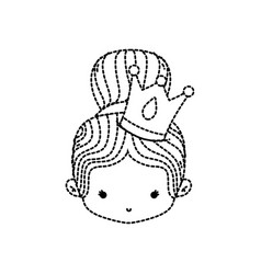 Dotted shape girl head with crown and bun hair vector