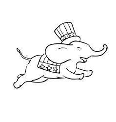 elephant jumping black and white drawing vector image
