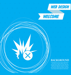 explosion icon on a blue background with abstract vector image