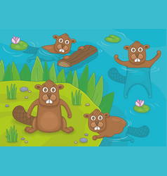 family beavers vector image