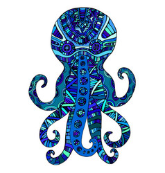fantasy ornamental octopus blue color vector image