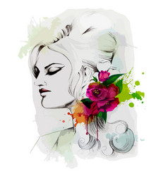 fashion lady with flower vector image