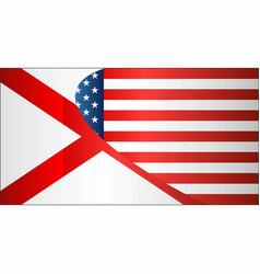flag of usa and alabama state vector image