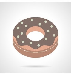 Flat color chocolate donut icon vector