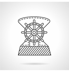 Flat line ship helm icon vector image