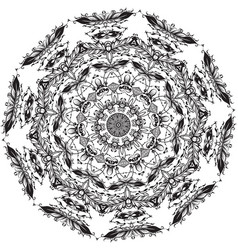 floral round line art mandala vector image